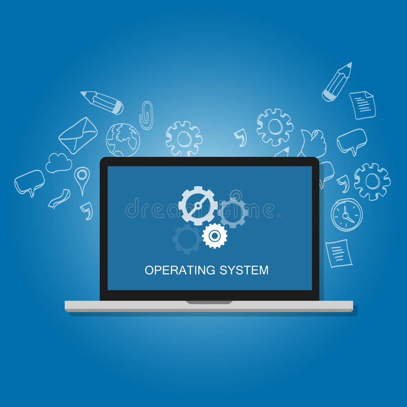 Os operating system software computer laptop screen gear icon concept vector illustration
