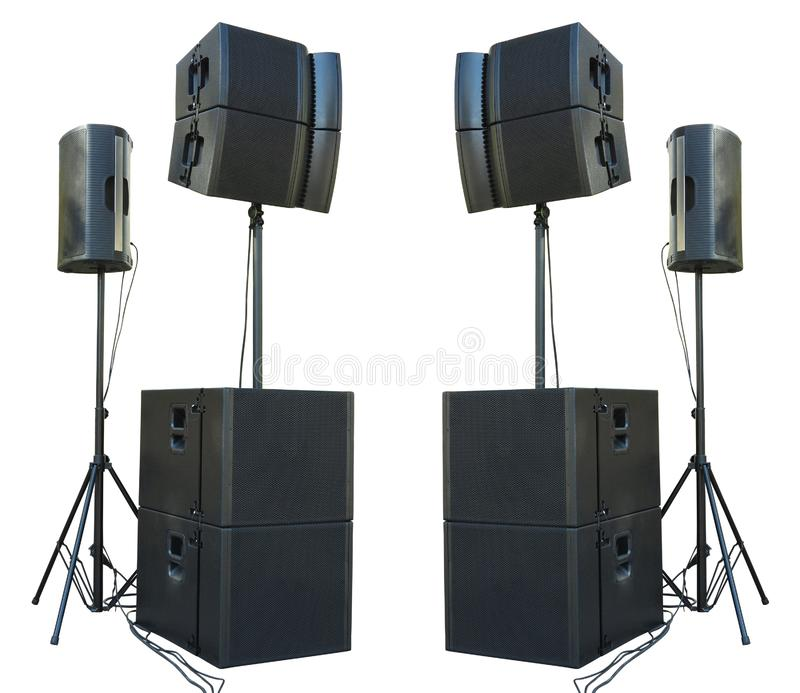 Os oradores audio industriais do concerto poderoso velho da fase isolaram o imagem de stock royalty free