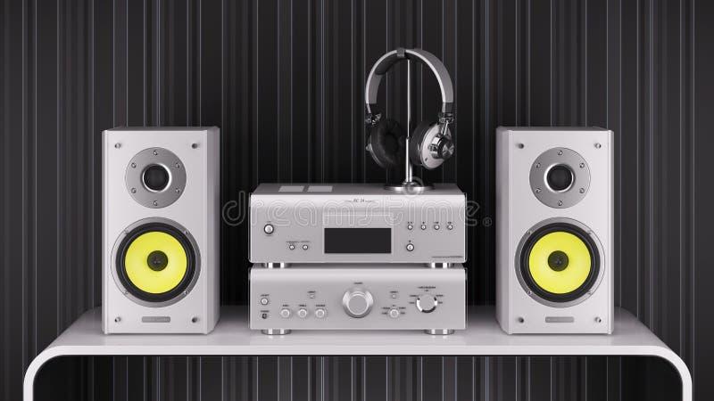 Os oradores de alta fidelidade do Desktop, o amplificador estereofônico e os fones de ouvido são silv ilustração do vetor