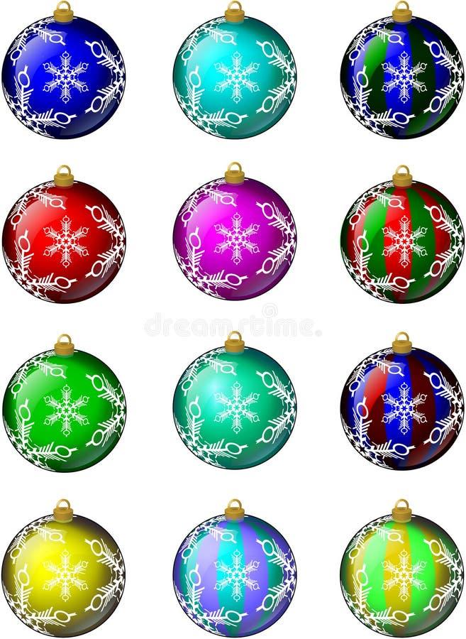 Os ornamento do Natal ajustaram #1 ilustração do vetor