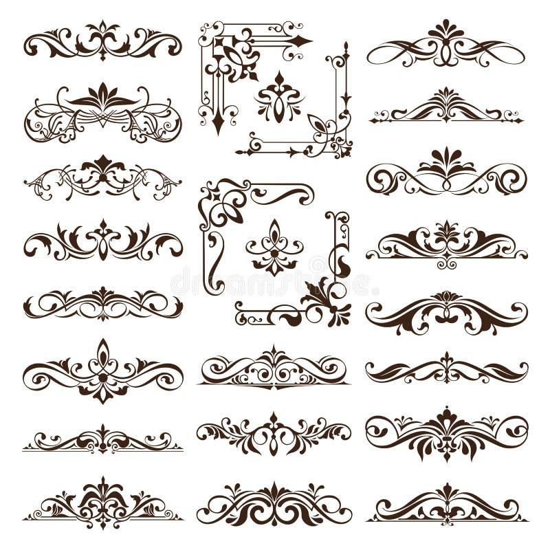 Os ornamento dos elementos do projeto do vintage moldam etiquetas retros dos freios dos cantos e ilustração ajustada do vetor do  ilustração royalty free
