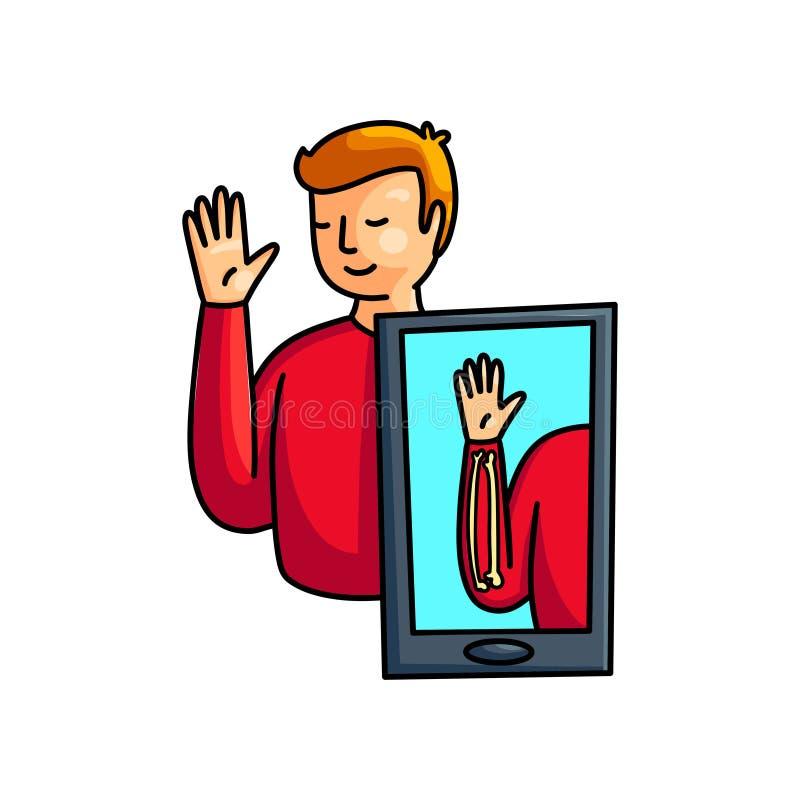 Os ossos aumentados do homem da m?o do reality show aumentam acima ilustração stock