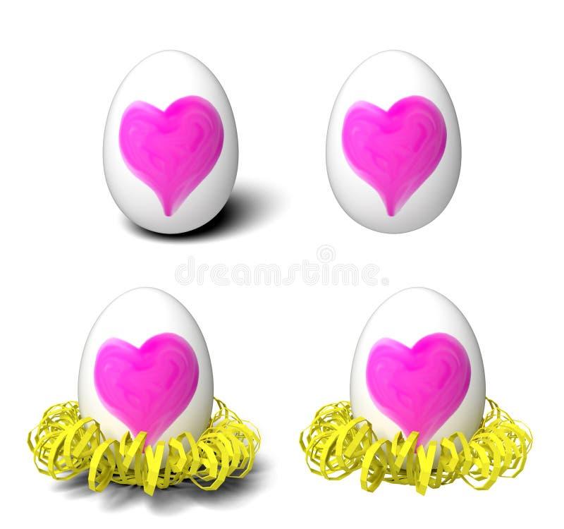 Os ovos brancos lisos com corações cor-de-rosa pintados à mão e o amarelo ondularam o ninho de papel fotografia de stock royalty free