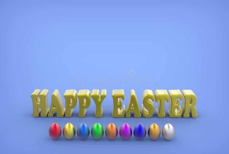 Os ovos coloridos e o cumprimento text em um fundo azul ilustração do vetor