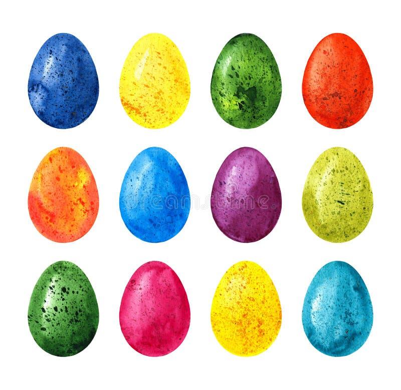 Os ovos da páscoa coloridos da aquarela ajustaram-se isolado no fundo branco ilustração do vetor