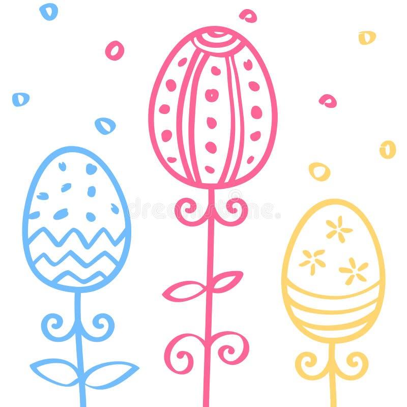 Os ovos da páscoa entregam o ornamento tirado da garatuja, linha teste padrão sem emenda, ilustração do vetor ilustração do vetor
