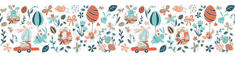 Os ovos da páscoa felizes engraçados caçam o fundo sem emenda da beira do quadro do teste padrão ilustração royalty free