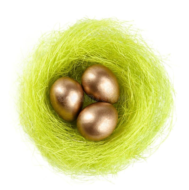 Os ovos dourados estão no ninho da fibra do sisal imagem de stock