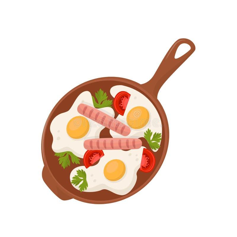 Os ovos fritos com tomates, salsichas e folhas da salsa na frigideira vector a ilustração em um fundo branco ilustração stock