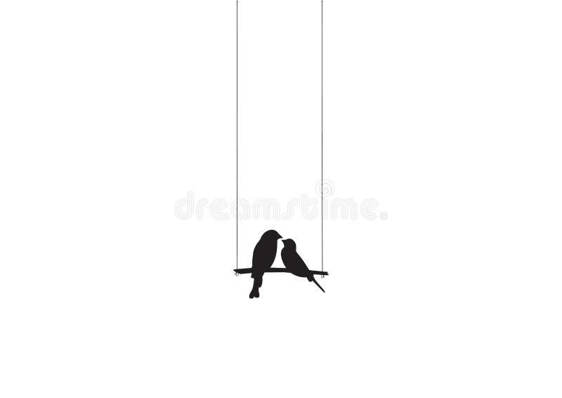 Os pássaros acoplam o vetor da silhueta, pássaros no balanço, decalques da parede, pássaros no amor, arte da parede, Art Decor ilustração royalty free