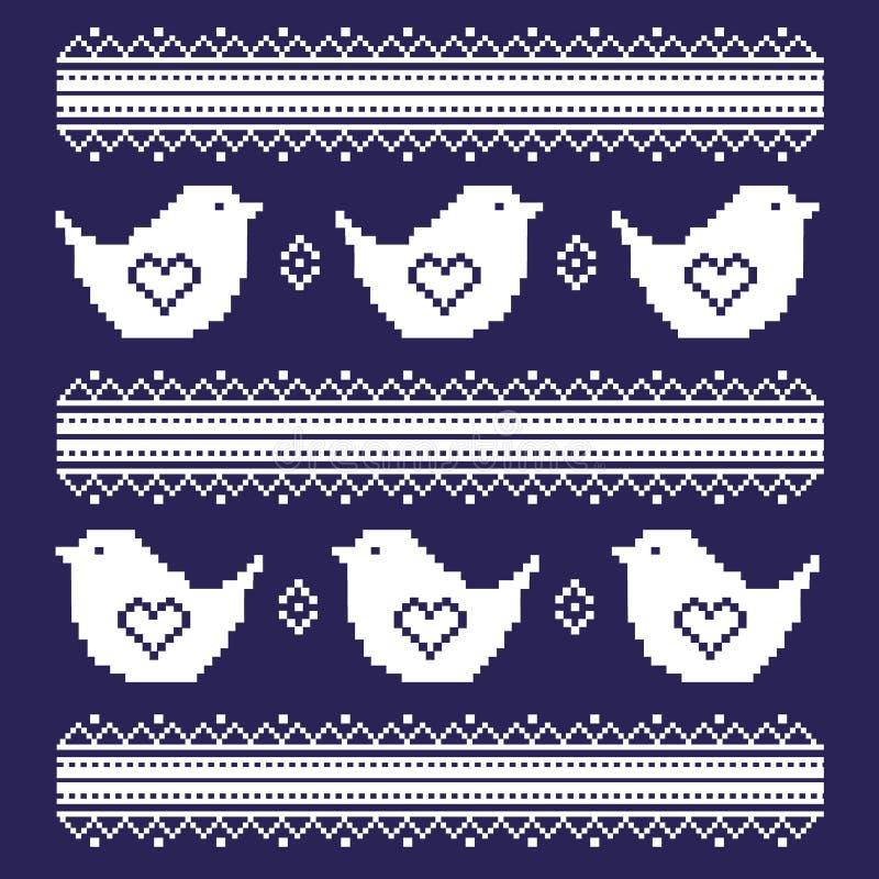 Os pássaros bordados Ilustração do vetor ilustração stock