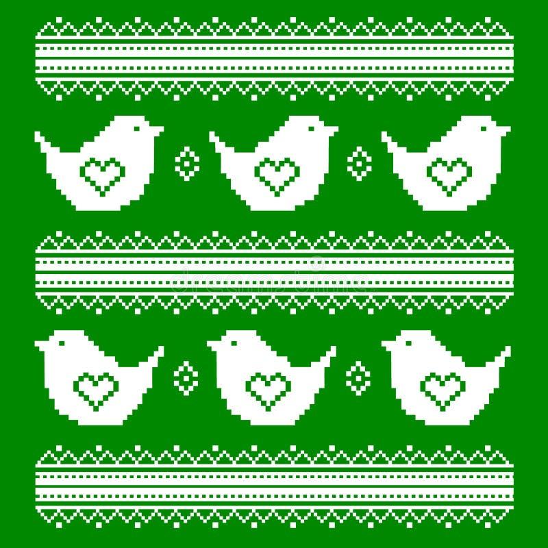 Os pássaros brancos bordados em um fundo verde no estilo ucraniano ilustração royalty free