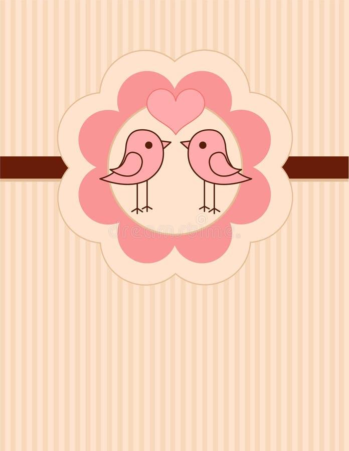 Os pássaros do amor coloc o cartão ilustração do vetor