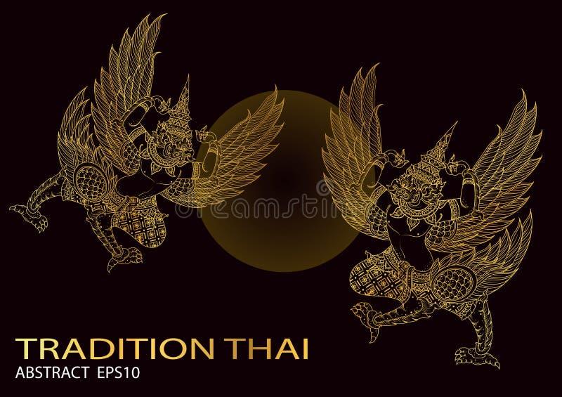 Os pássaros do rei esboçam o vetor tailandês do projeto da tradição tailandesa ilustração stock