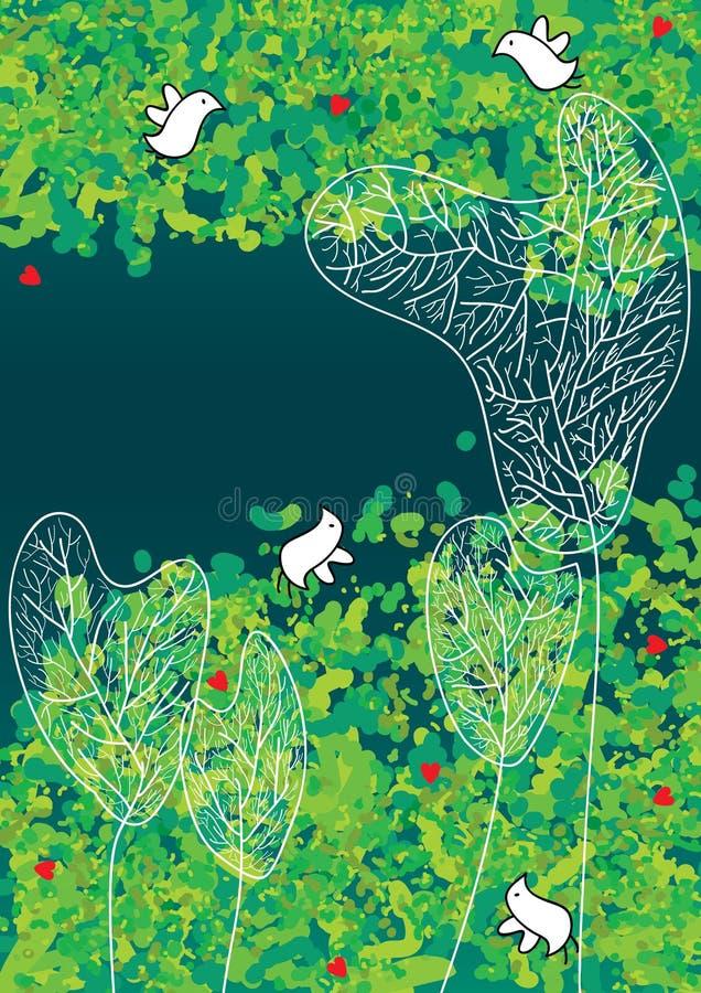 Os pássaros encontram o amor com Trees_eps ilustração stock