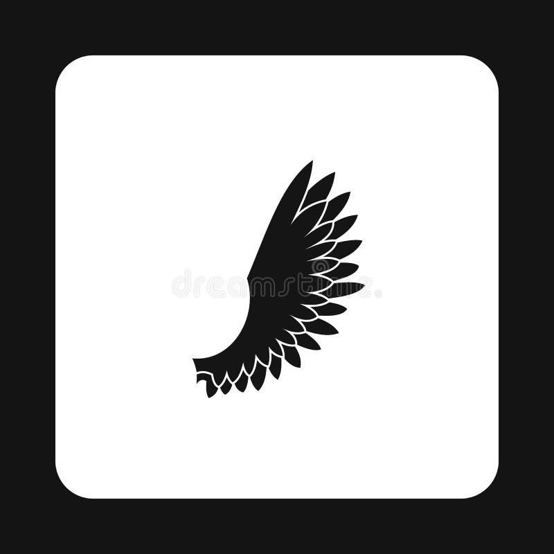 Os pássaros macios voam com ícone das penas, estilo simples ilustração royalty free