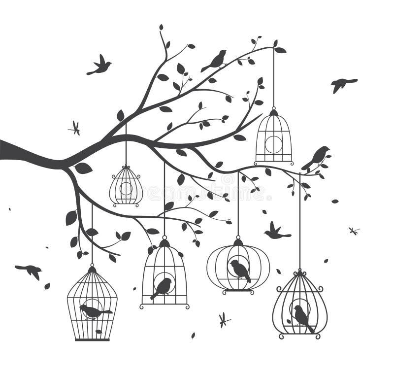 Os pássaros mostram em silhueta com árvore e birdcage ilustração stock