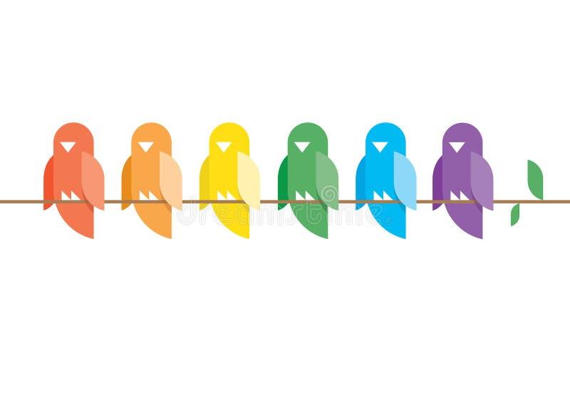 Os pássaros no arco-íris colorem o assento em um ramo de árvore.  ilustração stock