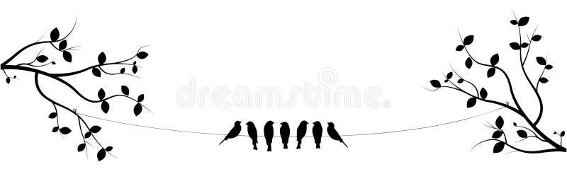 Os pássaros no fio em dois ramos vetor, projeto do cartaz, decoração da parede, pássaros mostram em silhueta Sete pássaros no pro ilustração do vetor