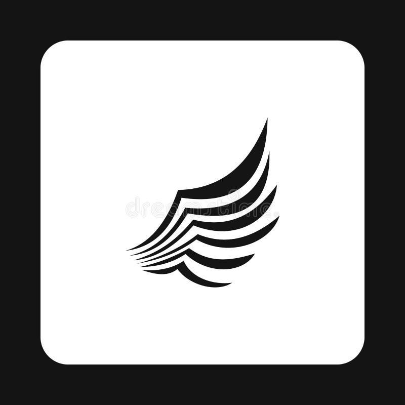 Os pássaros pretos voam com ícone das penas, estilo simples ilustração royalty free