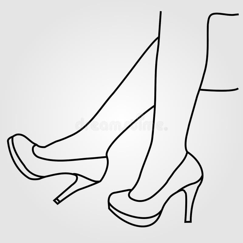 Os pés de uma mulher nos saltos altos ilustração stock