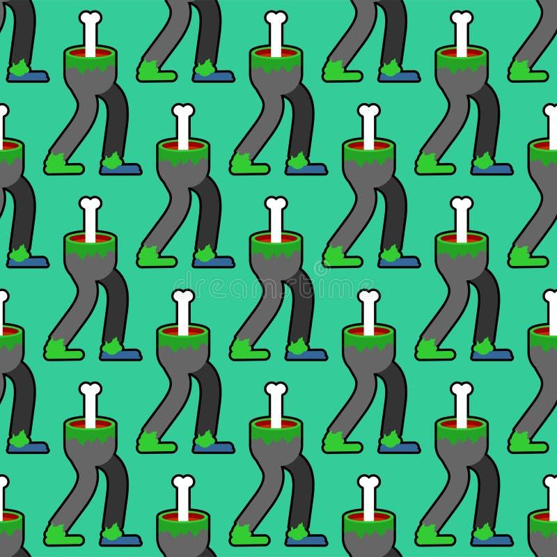 Os pés do zombi modelam sem emenda Pés verdes do fundo inoperante do homem Textura do vetor ilustração stock