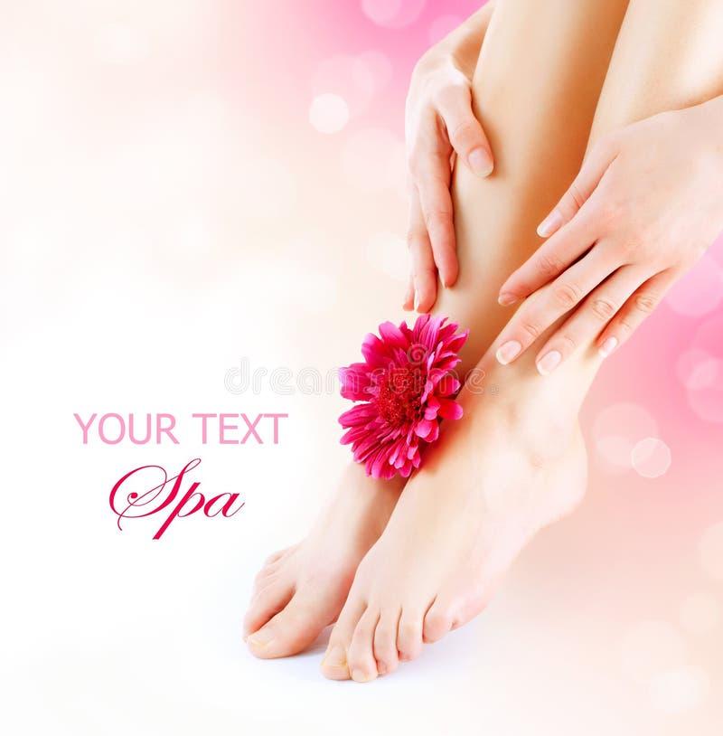 Os pés e as mãos da mulher fotos de stock royalty free