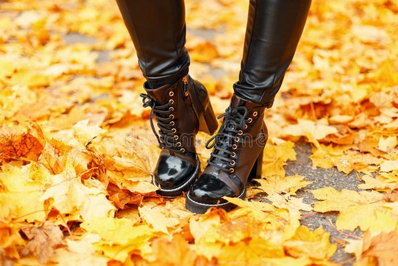 Os pés fêmeas com as botas de couro elegantes no outono amarelam imagens de stock royalty free