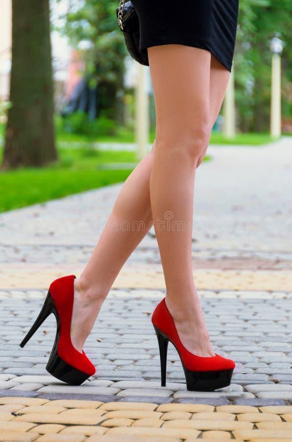 Os pés fêmeas longos delgados são calçados nas sapatas alto-colocadas saltos vermelho, stan imagens de stock royalty free