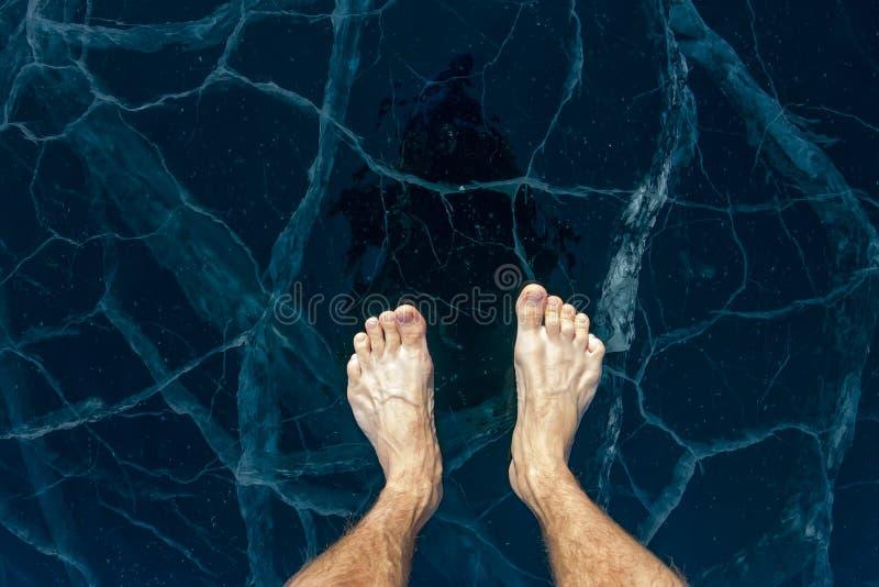 Os pés masculinos descalços estão no gelo azul do Lago Baikal, nas quebras fotografia de stock