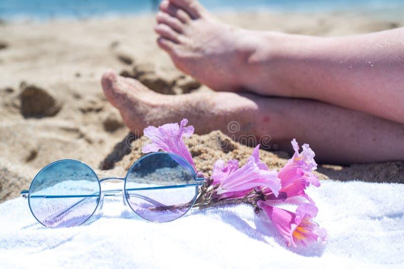 Os p?s da mulher da parte superior e o pedicure vermelho vestem as sand?lias cor-de-rosa, ?culos de sol no beira-mar Jovem mulher imagem de stock royalty free