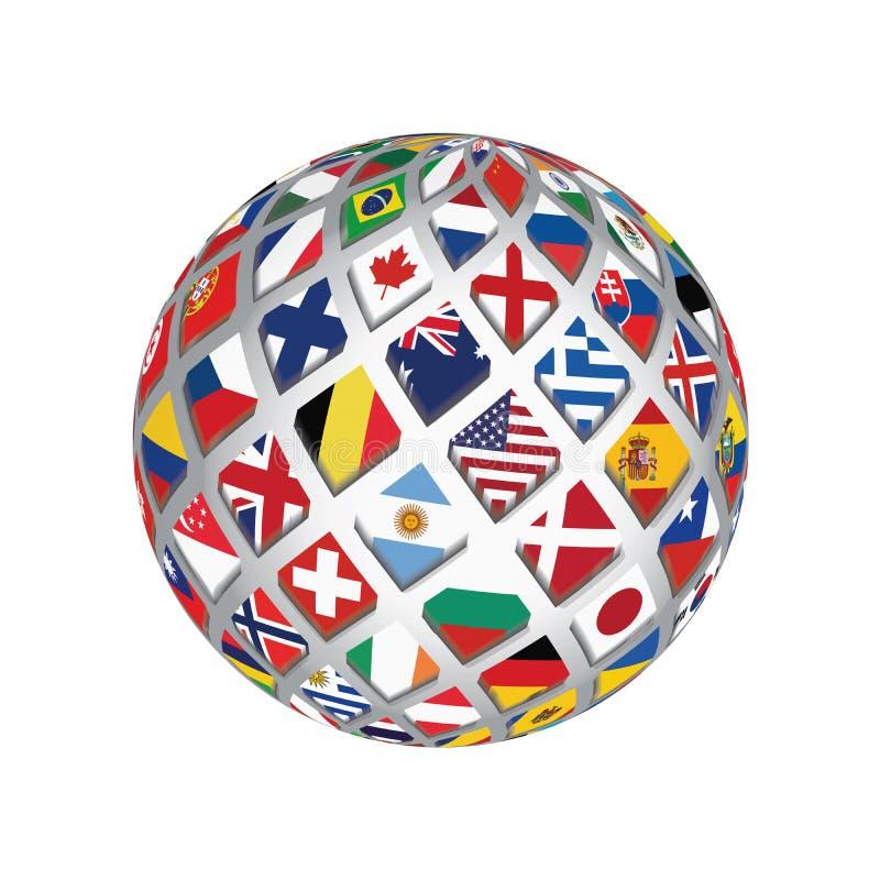 os países do mundo do globo 3D embandeiram a ilustração do fundo do símbolo do estilo ilustração do vetor