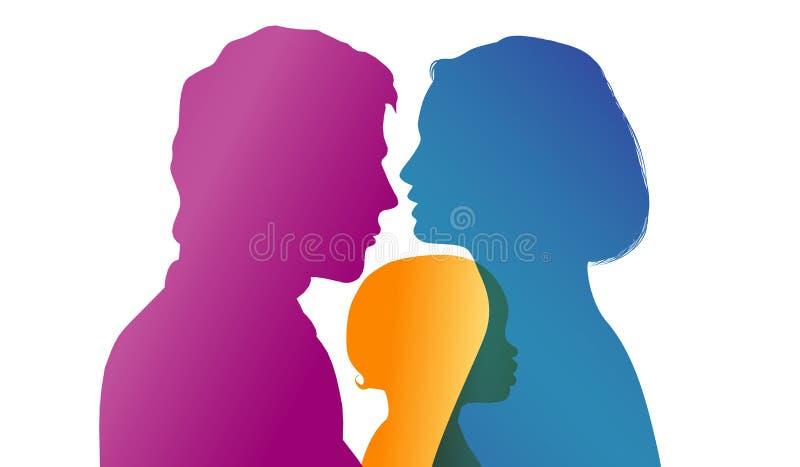 Os pais africanos ou afro-americanos novos adotam uma criança africana ou afro-americano adoption Silhueta do perfil da cor do ve ilustração royalty free