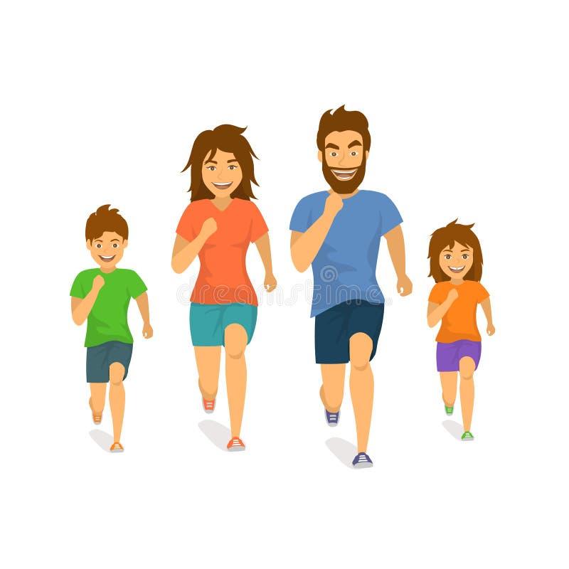 Os pais ativos e as crianças da menina do menino da mulher do pai de família que correm movimentando junto desenhos animados da v ilustração do vetor
