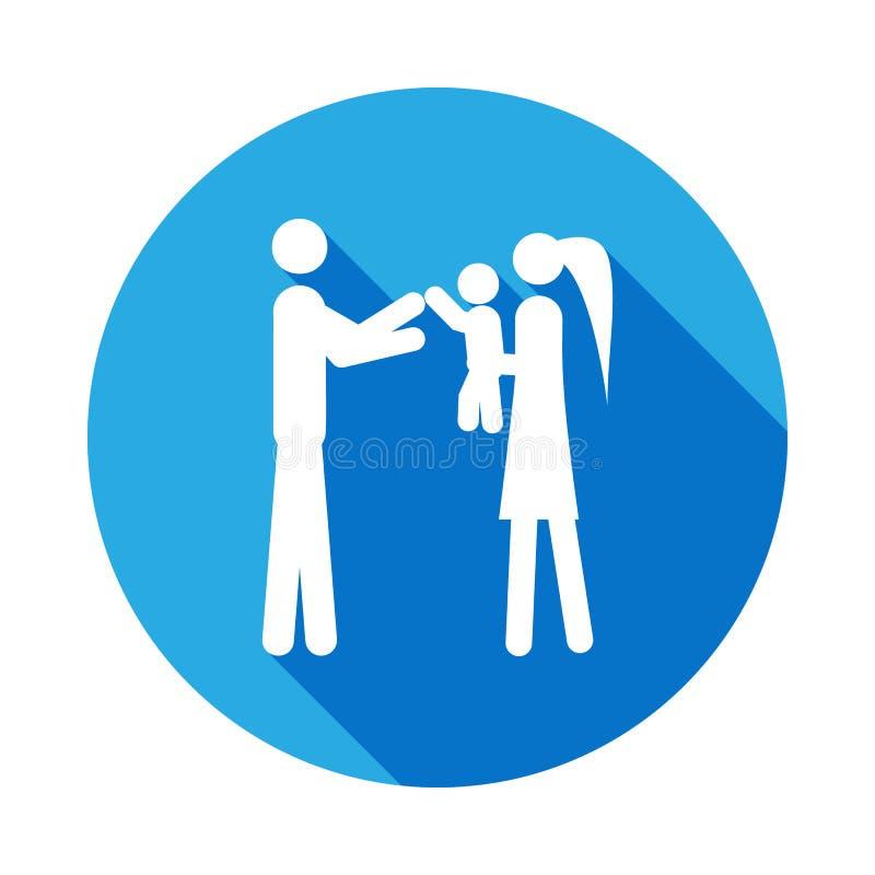 os pais guardam uma criança em seu ícone dos braços Elemento da ilustração casada vida dos povos Sinais e ícone da coleção dos sí ilustração royalty free