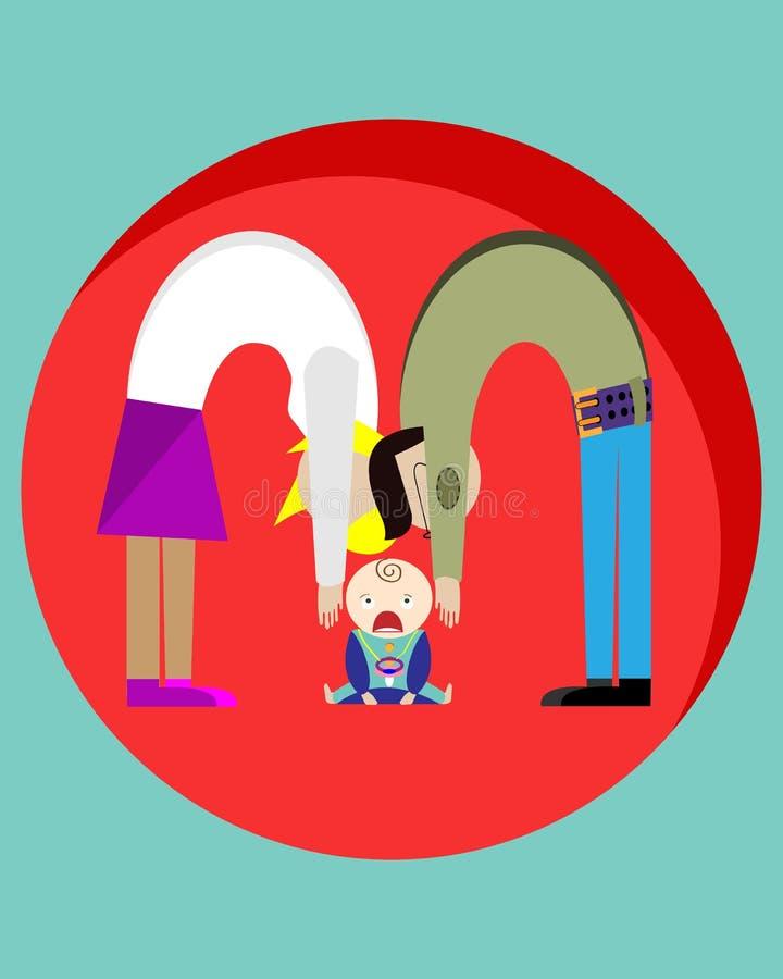 Os pais querem tomar a criança em seus braços que está gritando Desenho creativo Ilustração do vetor ilustração royalty free