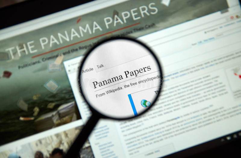 Os papéis de Panamá fotografia de stock