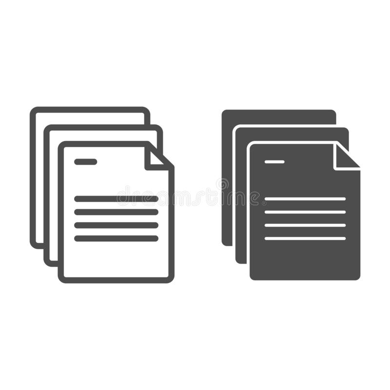 Os papéis do documento alinham e o ícone do glyph Ilustração do vetor das páginas isolada no branco O escritório nota o projeto d ilustração do vetor