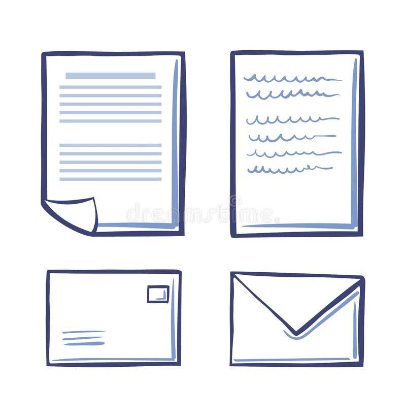 Os papéis e os envelopes do escritório assinaram ícones do contrato ilustração do vetor