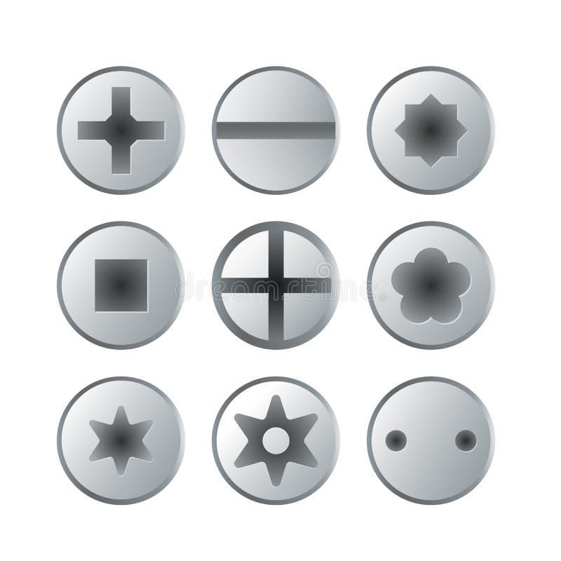 Os parafusos e as cabeças dos parafusos metálicos isolaram o grupo ilustração royalty free