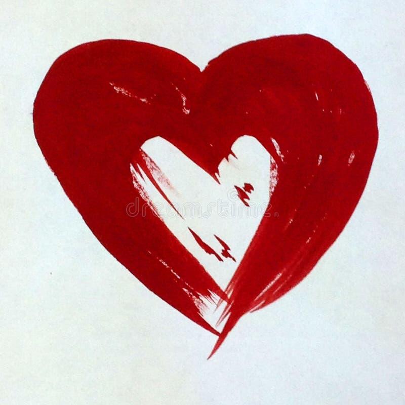 Os pares abstratos do coração do fundo da aquarela amam o papel de parede bonito da mão da decoração da textura ilustração do vetor