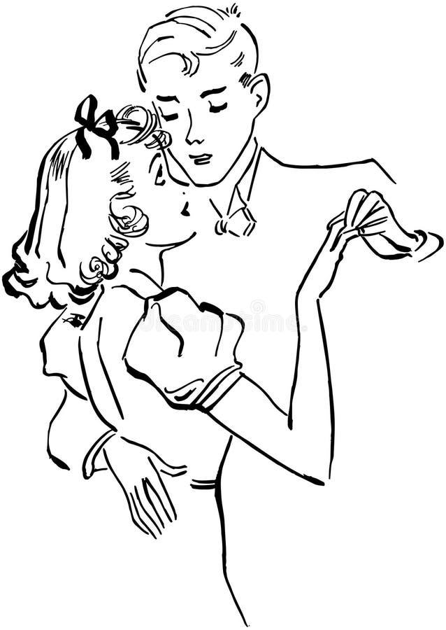 Os pares adolescentes retardam a dança ilustração do vetor