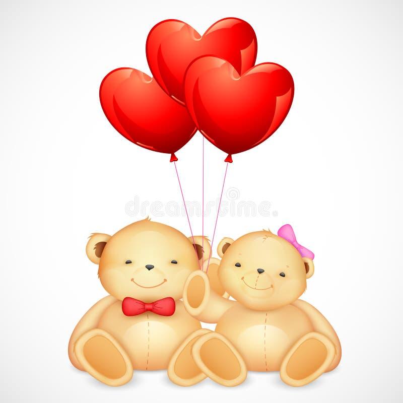 Os pares bonitos de urso de peluche que guardaram o coração Balloon ilustração do vetor
