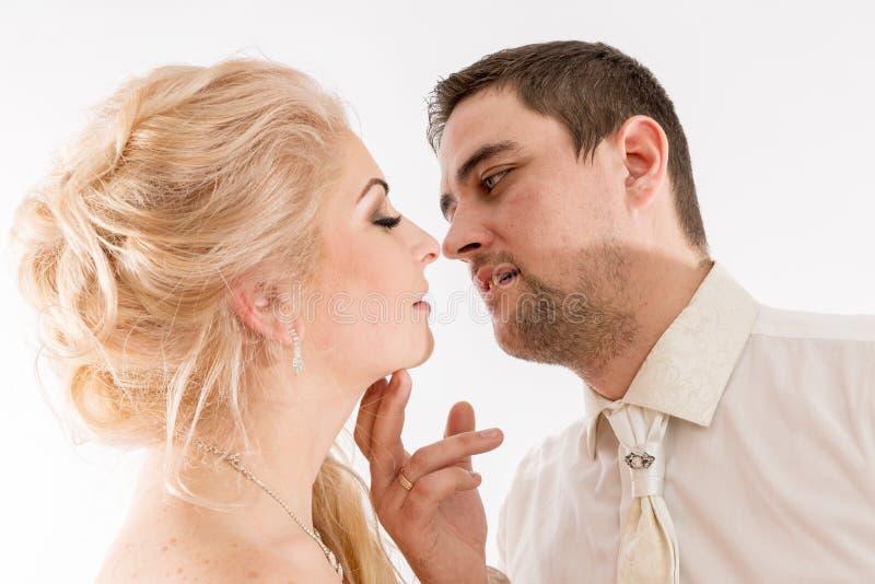 Os pares bonitos do recém-casado no vestuário do casamento estão beijando foto de stock royalty free