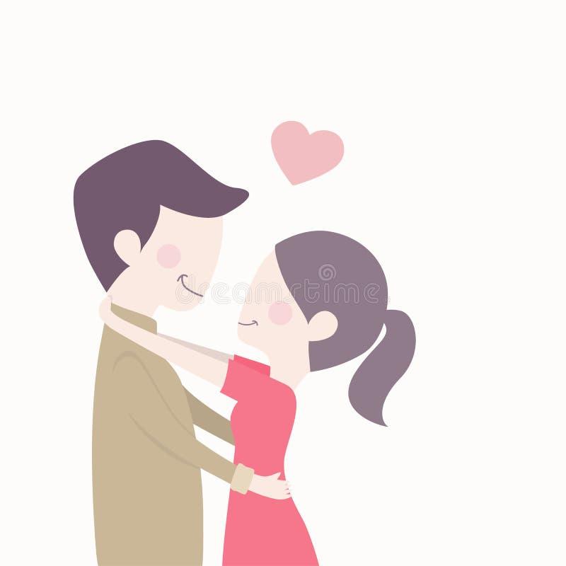 Os pares bonitos no amor com coração vermelho deram forma, sorriso feliz e aperto junto ilustração stock