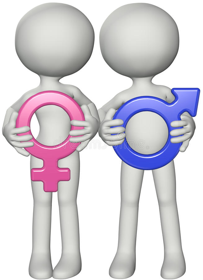 Os pares da menina do menino prendem os símbolos de sexo fêmea masculinos ilustração royalty free