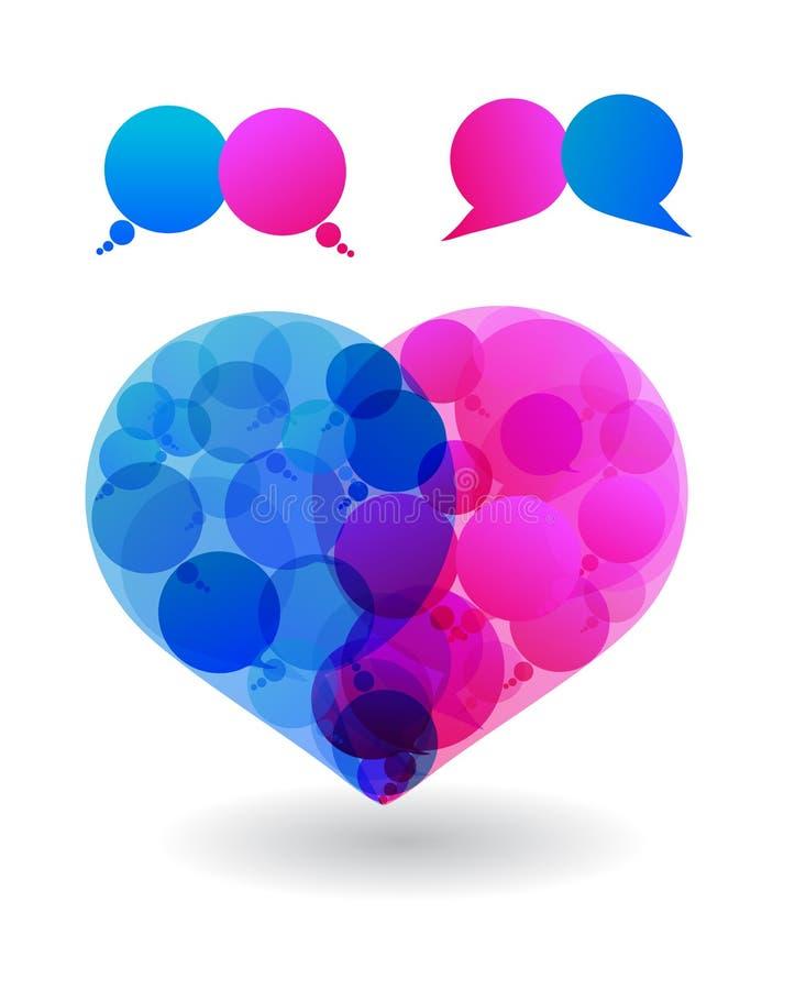 Os pares de amantes falam o amor em bolhas do discurso do coração ilustração do vetor