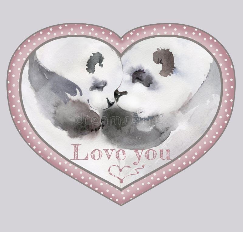 Os pares de beijar pandas no coração deram forma ao quadro ilustração royalty free