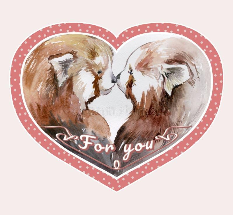 Os pares de beijar pandas vermelhas no coração cor-de-rosa deram forma ao quadro ilustração stock
