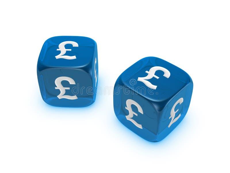 Os pares de dados azuis translúcidos com libra assinam foto de stock royalty free